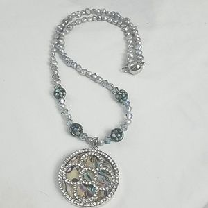 Pave Crystal Medallion Freshwater Pearl Necklace